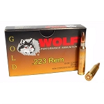 Wolf Gold Ammo Brass 223 REM 55 Grain FMj 20 Rounds