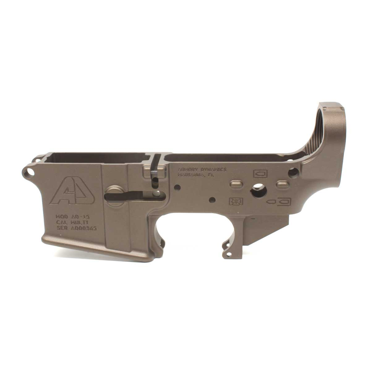 Armory Dynamics AD-15 Enhanced / Threaded Forged Lower Cerakoted Burnt Bronze