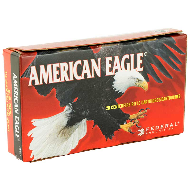 Federal, American Eagle, 6.8SPC, 115 Grain, Full Metal Jacket, 20 Round Box