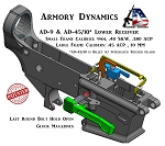 Armory Dynamics AD-45/10 AR Billet Glock Receiver w/ Last Round Bolt Hold Open *Un Coated*